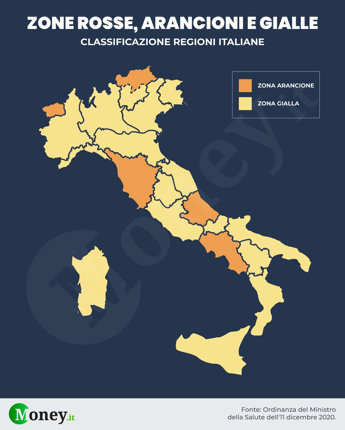Cartina Italia E Province.Regioni Zona Arancione E Gialla Dal 13 Dicembre Nuova Mappa E Misure Restrittive