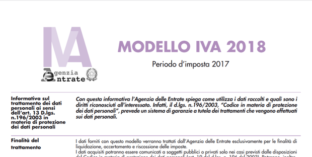 Dichiarazione iva 2018 modello ufficiale scadenza e istruzioni - Bonus mobili iva ...