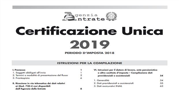 Scadenza Certificazione Unica 2019