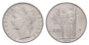 1bab6a59a8 Di un valore tra gli 800 e i 1.300 euro, le lire emesse nel 1955 valgono  una piccola fortuna. Questa moneta da 100 lire - in acmonital, acciaio -  mostra su ...