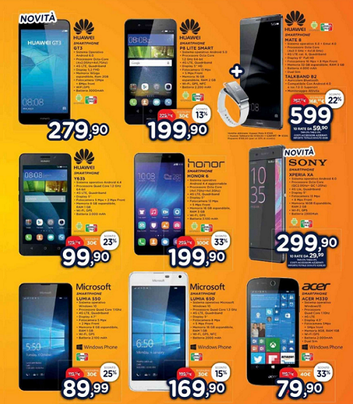 Offerte smartphone a unieuro for Offerte mobile