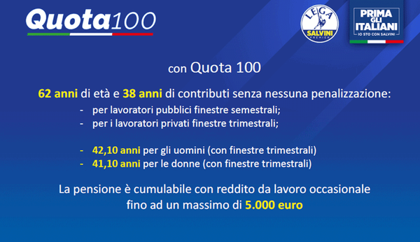 Pensioni news la riforma spiegata dalla lega quota 100 aspettando quota 41 - Finestre mobili pensioni ...