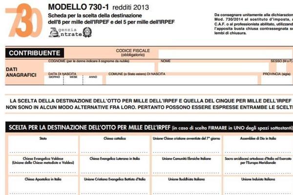 Destinazione 8 per mille e modello 730 come funziona for 730 modello