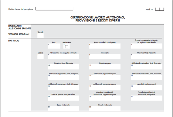 Certificazione unica 2015 come compilare i campi - Certificazione lavoro autonomo provvigioni e redditi diversi ...